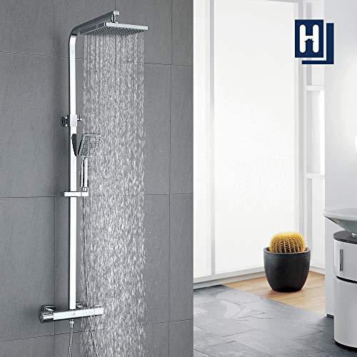 HOMELODY Duschsystem mit Thermostat Regendusche eckig Duscharmatur Duschset...