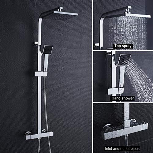 BONADE Duschsystem thermostat regendusche Duschset mit Brausethermostat-...